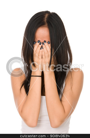 Girl in despair shuts face with hands stock photo, Girl in despair shuts face with hands.Isolated on white background by Vadim