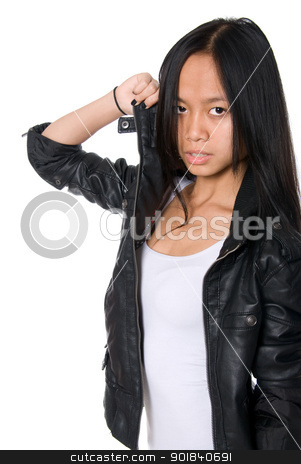 Portrait of brunette in a leather jacket. stock photo, Portrait of brunette in a leather jacket.Hand pulls a collar.Asian girl on a white background by Vadim
