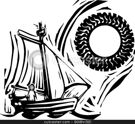 Sailing stock vector clipart, Woodcut style image of a girl in a sailing boat under a sun. by Jeffrey Thompson