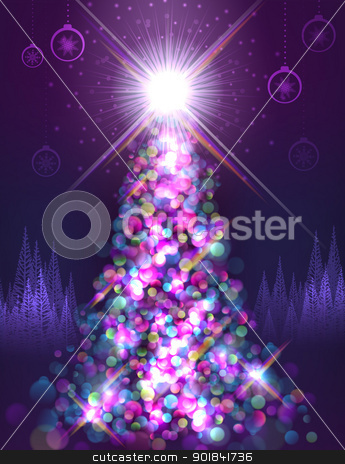 Brightly lit tree stock vector clipart, Brightly lit up christmas tree at night by Liviu Peicu