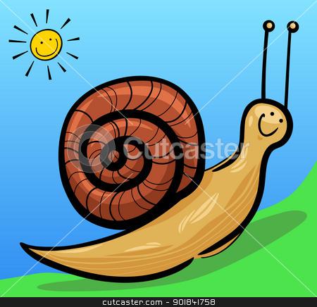 cute snail cartoon illustration stock vector clipart, cartoon illustration of cute snail with shell by Igor Zakowski