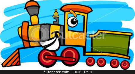 cartoon locomotive or train character stock vector clipart, cartoon illustration of cute steam engine locomotive or train character by Igor Zakowski