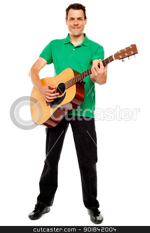 Young caucasian guitarist playing tracks stock photo, Young caucasian guitarist playing tracks isolated over white background by Ishay Botbol