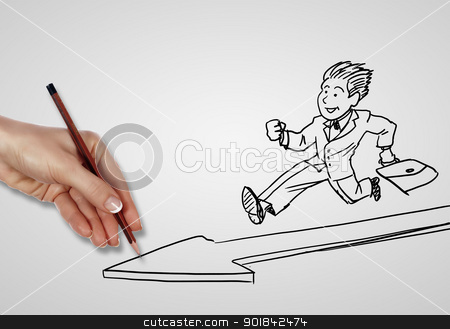 Creativity and success in business stock photo, Drawing about creativity and success in business by Sergey Nivens