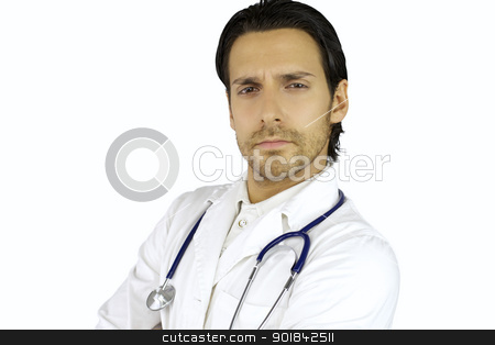 Young serious doctor stock photo, Cool doctor posing serious with long hair and beard by federico marsicano
