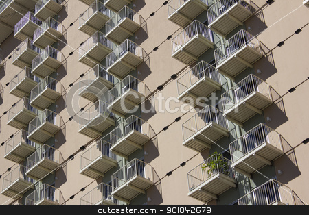 Condo apartment building stock photo, the side of an apartment or condo building. by Jeremy Baumann