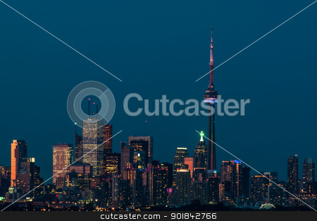 Toronto City Skyline in the Evening stock photo, The city skyline of Toronto, Ontario, Canada in the evening light. by Brian Guest