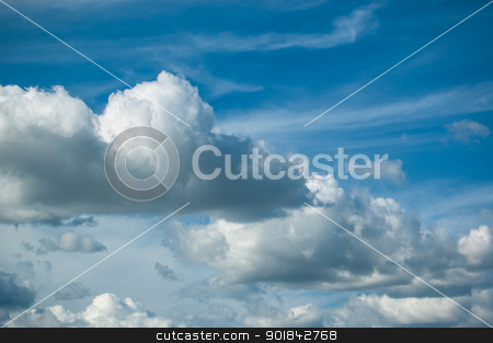 Cloudscape stock photo, A variety of different types of clouds in a deep blue sky. by Brian Guest