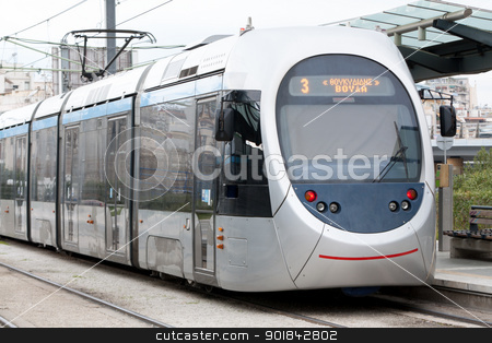 Tram in Athens, Greece stock photo, Greek tram in Neo Faliro with destination Voula, Athens, Greece. by Brigida Soriano
