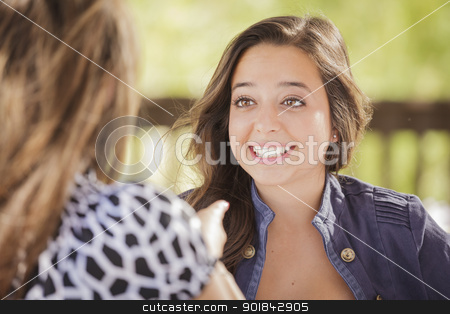 Attractive Girlfriends Laughing Sitting Outside stock photo, Attractive Girlfriends Laughing Sitting Outdoors. by Andy Dean