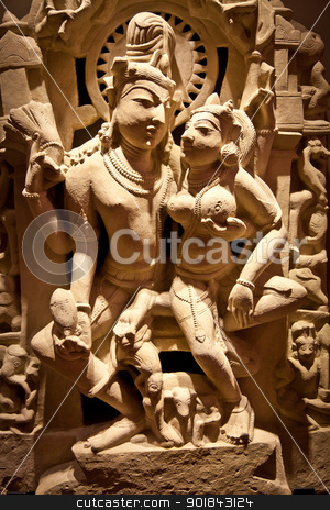 Holy couple stock photo, North-East India, X Century A.D., Basalt by Perseomedusa