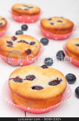 Blueberry Muffins stock photo, Homemade Blueberry Muffins on White Table by JAMDesign