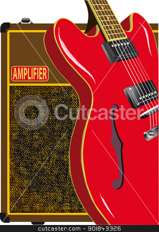 Guitar and Amplifier stock vector clipart, Guitar leaning against a valve amplifier by Kotto