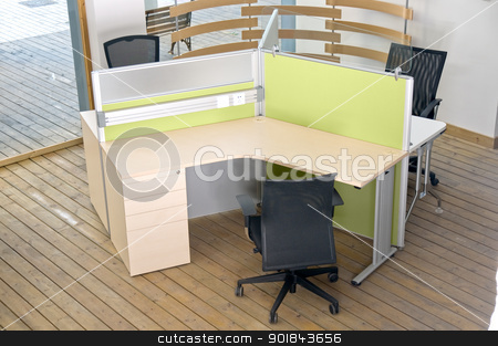 office desks and black chairs cubicle set  stock photo, office desks and black chairs cubicle set view from top over wood flooring  by Francesco Perre