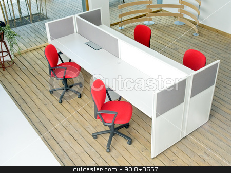 office desks and red chairs cubicle set  stock photo, office desks and red chairs cubicle set view from top over wood flooring  by Francesco Perre