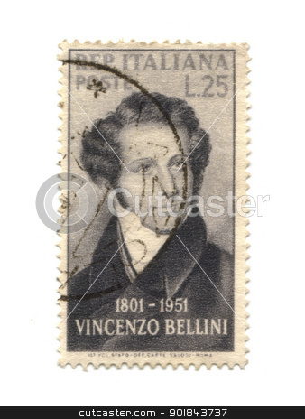 ITALY - CIRCA 1951: stamp printed by Italy, shows Vincenzo Belli stock photo, ITALY - CIRCA 1951: stamp printed by Italy, shows Vincenzo Bellini, circa 1951 by Fabrizio Zanier