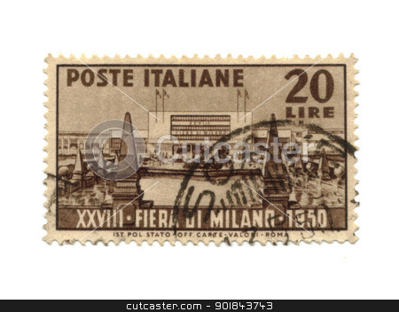 ITALY - CIRCA 1950: A stamp printed in Italy, shows twenty-eight stock photo, ITALY - CIRCA 1950: A stamp printed in Italy, shows twenty-eighth exhibition in milan, circa 1950 - by Fabrizio Zanier