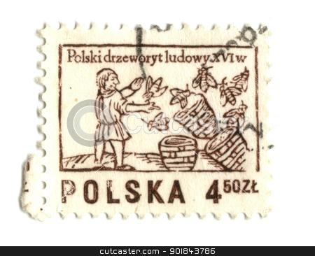 POLAND - CIRCA 1963: A stamp printed in Poland shows beekeeper,  stock photo, POLAND - CIRCA 1963: A stamp printed in Poland shows beekeeper, circa 1963 - by Fabrizio Zanier