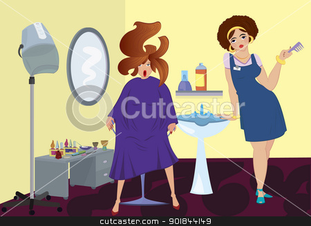 Beauty salon professional and a client near stand up blow dryer stock vector clipart, Beauty salon professional and a client near stand up blow dryer by Zebra-Finch