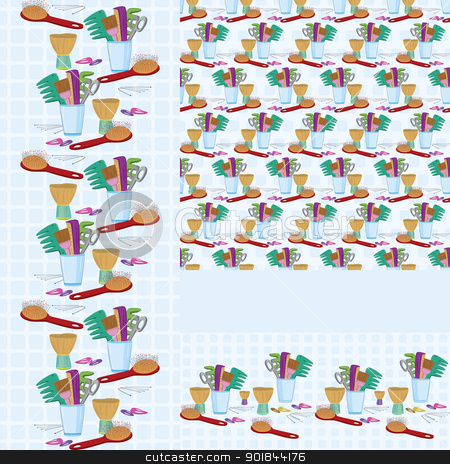 Beauty salon combs and brushes  horizontal and vertical  seamless pattern stock vector clipart, Beauty salon combs and brushes  horizontal and vertical  seamless pattern by Zebra-Finch
