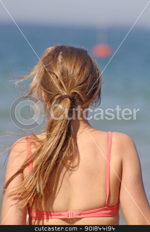 teenage girl in the sea stock photo, teenage girl in the sea by lizapixels