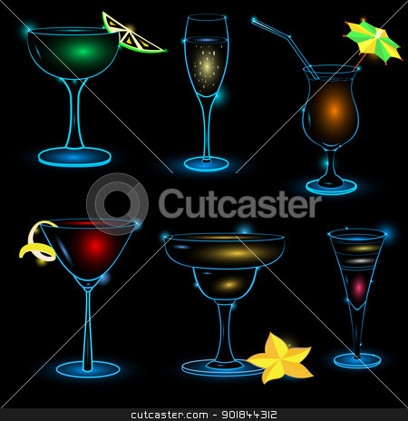 Neon-Cocktail-icon-set stock vector clipart, Vector illustration ofneon cocktail icon set on black background   by Zebra-Finch