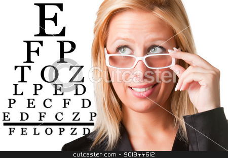Wondering Businesswoman Looking at an eyechart stock photo, Worried bussinesswoman with glasses looking at an eyechart, isolated in a white background by ruigsantos