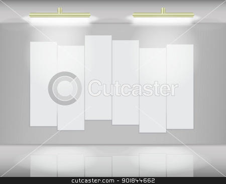 Art gallery with segmented canvas stock vector clipart, Six highlited white canvases in virtual art gallery by Vladimir Repka