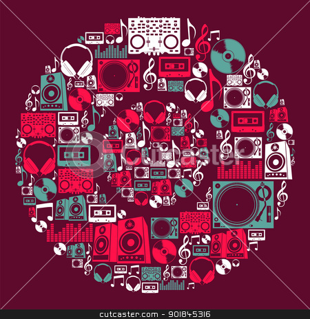 Dj Music icons disc stock vector clipart, Dj music icon set in vinyl disc shape. Vector file layered for easy manipulation and custom coloring. by Cienpies Design