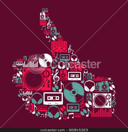 Dj Music icons in hand shape stock vector clipart, Dj music icon set in human hand shape. Vector file layered for easy manipulation and custom coloring. by Cienpies Design