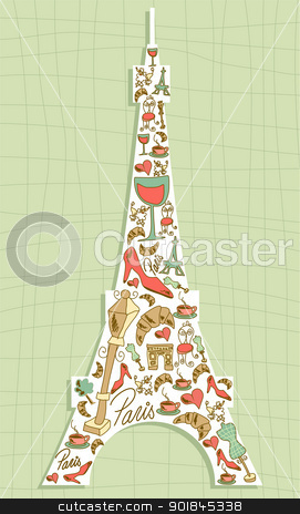 Travel Paris icon set Eiffel tower stock vector clipart, Hand drawn travel paris icon set in Eiffel tower shape. Vector file layered for easy manipulation and custom coloring. by Cienpies Design