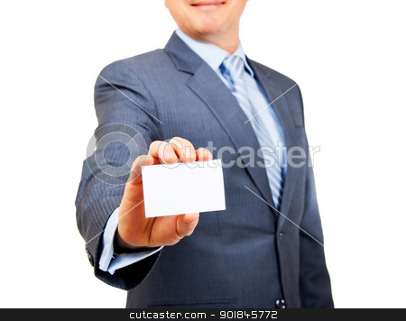 Here is my business card stock photo, Business person in suit holding out blank white copy space card on isolated background. Focus on card. by Stephen Laurence