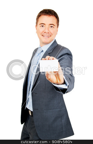 Confident business man holding blank business card stock photo, Confident young man holding blank copy space business card on isolated background by Stephen Laurence