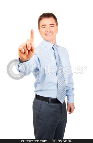 You are Number One stock photo, Happy business man with number one hand gesture on isolated background by Stephen Laurence