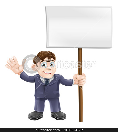 Businessman holding sign stock vector clipart, Illustration of a cute businessman holding a sign and waving  by Christos Georghiou