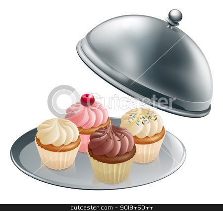 Cupcakes on silver platter stock vector clipart, Illustration of different flavour cupcakes on a silver platter by Christos Georghiou