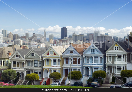Alamo Square San Francisco stock photo, Historic and colourful victorian era houses at Alamo square with the San Francisco city skyline in the distance by Stephen Gibson