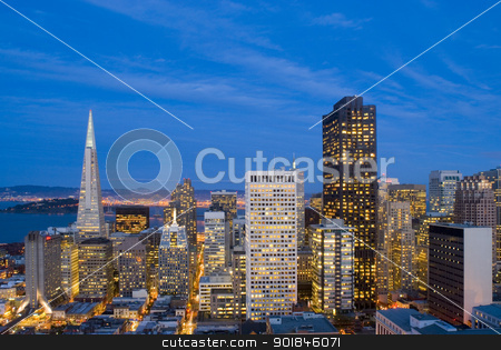 San Francisco after Sunset stock photo, Spectacular evening view over the office buildings of downtown San Francisco by Stephen Gibson
