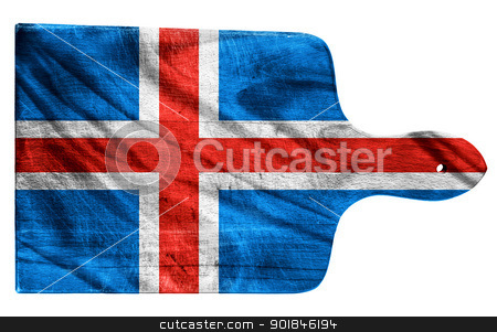 Iceland flag stock photo, Textured Iceland flag painted on old heavily used chopping or cutting board on white background by borojoint