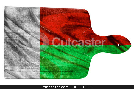 Madagascar flag stock photo, Textured Madagascar  flag painted on old heavily used chopping or cutting board on white background by borojoint