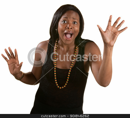 Desperate Woman with Hands Up stock photo, Desperate young black woman with open hands over white background by Scott Griessel