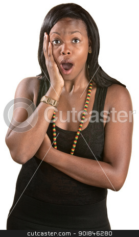 Astonished Woman stock photo, Astonished Jamaican woman over white background with hand on face by Scott Griessel