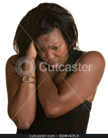 Overhelmed Young Woman stock photo, Frantic Black woman holding neck and head by Scott Griessel