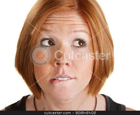 Thinking Woman Biting Her Lip stock photo, Pretty European woman over white biting her lip by Scott Griessel