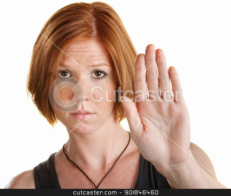 Woman with Hand Up stock photo, Tired young white woman with hand gesture for stop by Scott Griessel