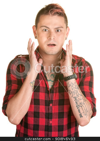 Scared Man stock photo, Surprised man with spiky dyed hair and hands by face by Scott Griessel