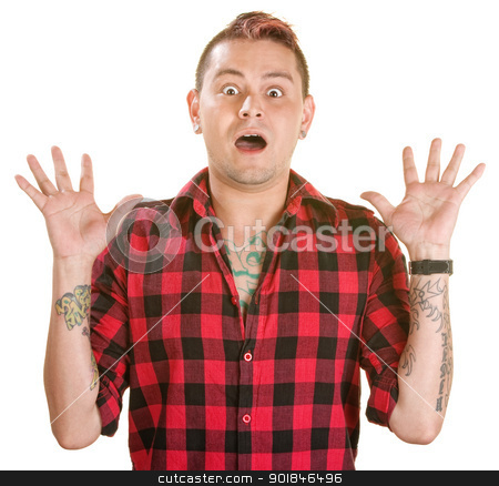 Scared Hispanic Man stock photo, Scared Hispanic man with spiky dyed hair over white by Scott Griessel