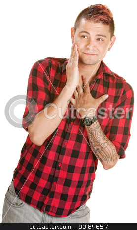 Bashful Man in Love stock photo, Bashful young European man in flannel shirt over white by Scott Griessel