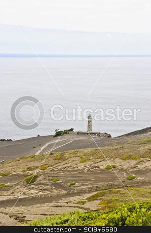 Volcano dos Capelinhos stock photo, Volcano dos Capelinhos with lighthouse, Faial island, Azores by dinozzaver
