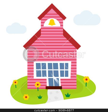 Cartoon school building illustration  stock vector clipart, Schoolhouse. Vector cartoon Illustration. by BEEANDGLOW